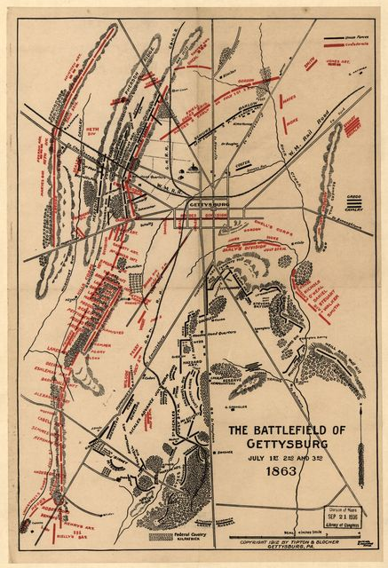 The battlefield of Gettysburg, July 1st, 2nd and 3rd 1863