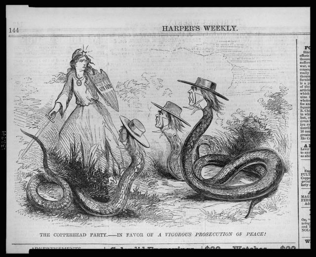 The copperhead party - in favor of a vigorous prosecution of peace!