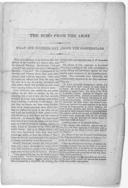 The echo from the army. What our soldiers say about the copperheads. New York: Wm. C. Bryant & Co. printers. 1863.