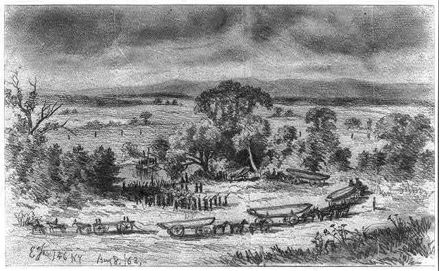 The First and Sixth N.Y.V. throwing pontoon bridge across the Rappahannock River near Beverly Ford