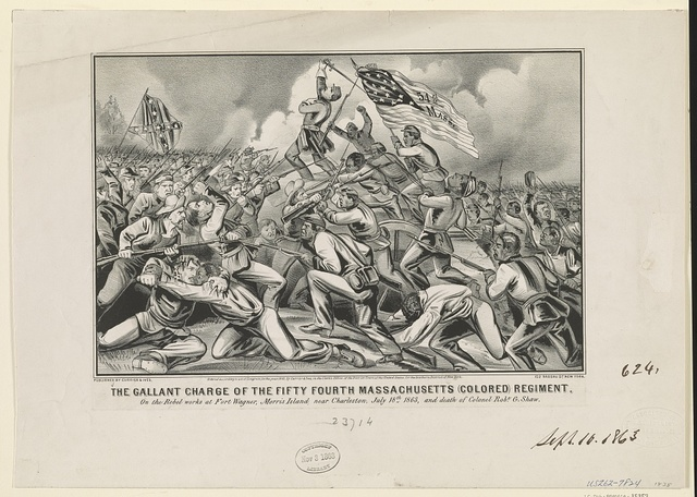The gallant charge of the fifty fourth Massachusetts (colored) regiment: on the rebel works at Fort Wagner, Morris Island, near Charleston, July 18th 1863, and death of Colonel Robt. G. Shaw