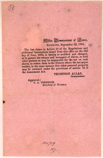 The last clause in article 10 of the regulations and additional instructions issued from this office on the 2d day of June, 1864, is hereby so modified and changed as to permit the owners and managers of slaves, or such other persons as may be r