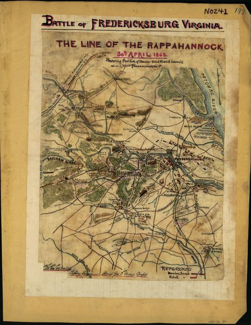 The line of the Rappahannock, 30th April 1863 Showing position of Union and Rebel armies at and near Fredericksburg, Va.