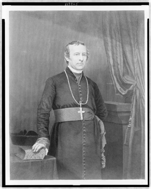 The most Revd. John Hughes--Archbishop of New York / printed by H. Peters ; engraved by J.B. Forrest from a photograph by Brady.
