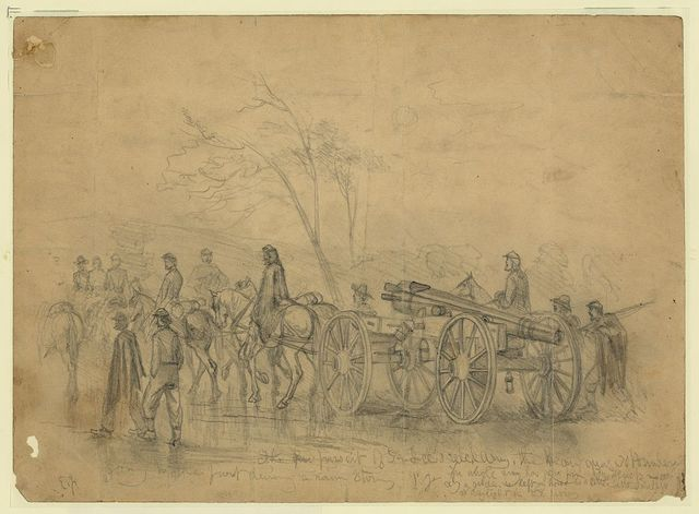 The pursuit of Gen. Lee's rebel army. The heavy guns - 30 pounders - going to the front during a rain storm / E.F.