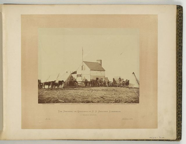 The Shebang, or quarters of the U.S. Sanitary Commission, Brandy Station / negative by J. Gardner, positive by A. Gardner.