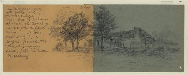 """The Snodgrass House on the battlefield of Chickamauga. Near here Genl. Thomas repulsed the last charge made by the Confederate Army. It was once said by a Confed. General that """"There, at Snodgrass house, fell the southern confederacy"""""""