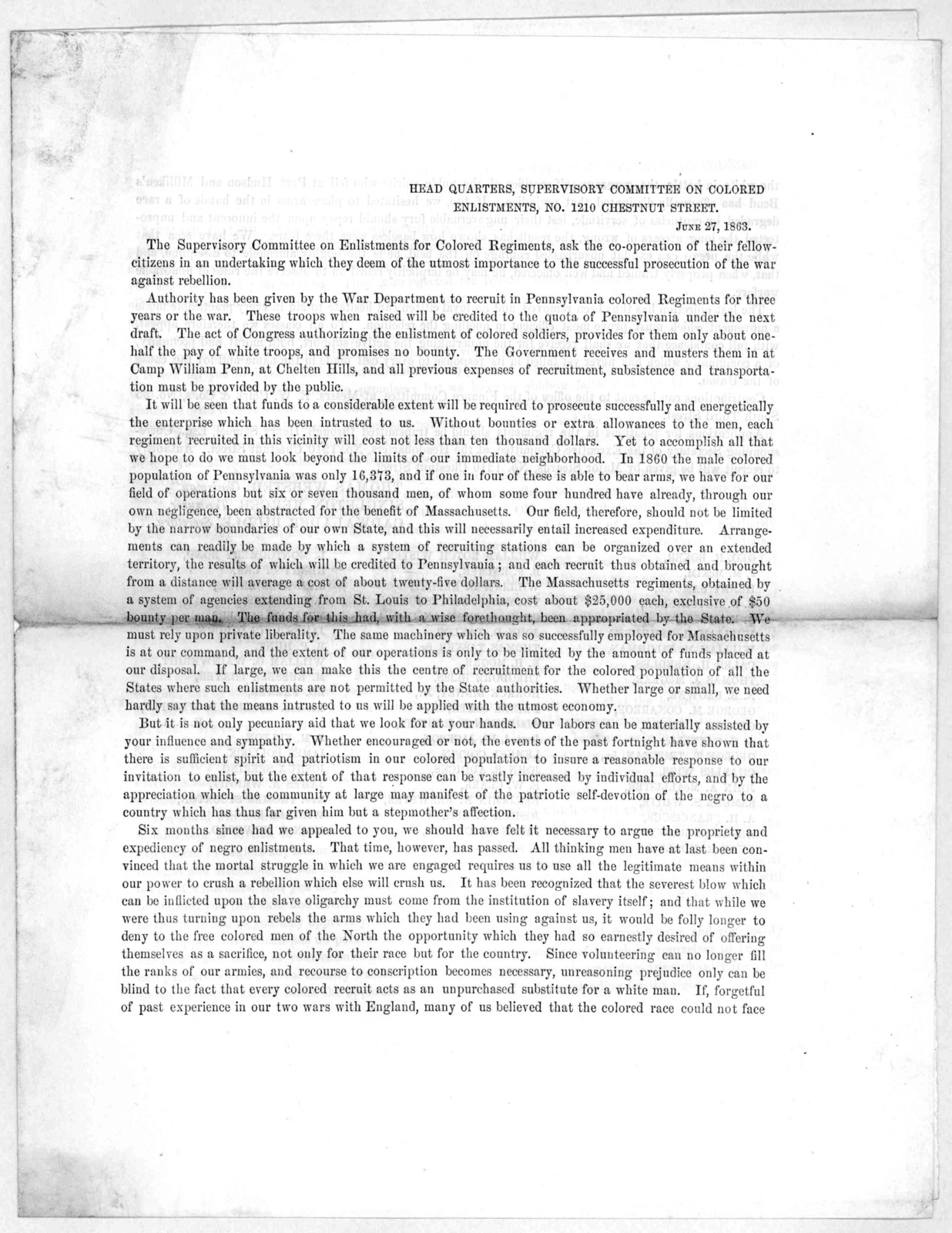 The Supervisory committee of enlistments for colored regiments, asks the co-operation of their fellow-citizens in an undertaking which they deem of the utmost importance to the successful prosecution of the war against rebellion ... [Philadelphi