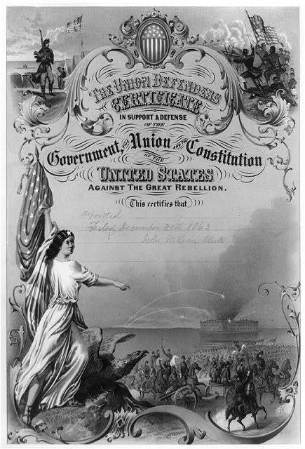 The Union defenders certificate in support & defense of the government, the Union and the Constitution of the United States against the Great Rebellion