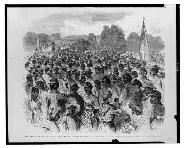 The war in the southwest - Adjutant-General Thomas addressing the Negroes in Louisiana on the duties of freedom / from photograph.