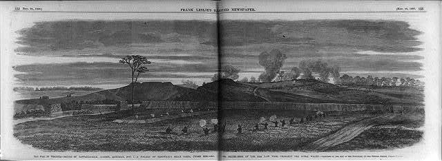 The War in Virginia - Battle of Rappahannock Station, Nov. 7 - a portion of Sedgwick's Sixth Corps, -- and the skirmishers of the 4th New York charging the Rebel works / sketched by -- Edwin Forbes.