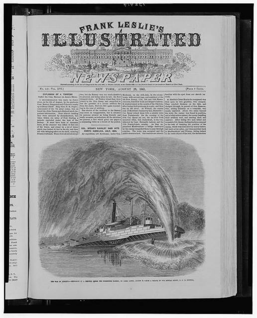 The war in Virginia - Explosion of a torpedo under the Commodore Barney, on James River, Aug. 4 / from a sketch by our special artist, F.C.H. Bonwill.