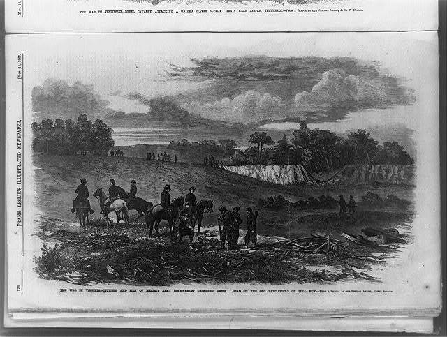 The War in Virginia--officers and men of Meade's army discovering unburied Union dead on the battlefield of Bull Run / from a sketch by our special artist, Edwin Forbes.