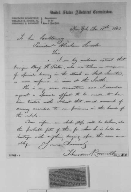 Theodore Roosevelt to Abraham Lincoln, Friday, December 18, 1863  (Case of Benjamin Porter)