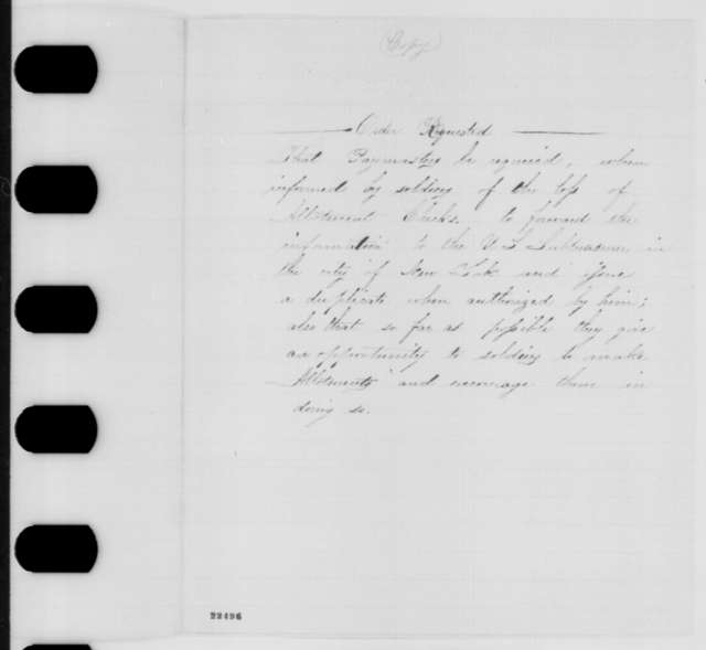 Theodore Roosevelt to Edwin Stanton, Wednesday, March 18, 1863  (Requests order concerning paymasters and allotment checks)