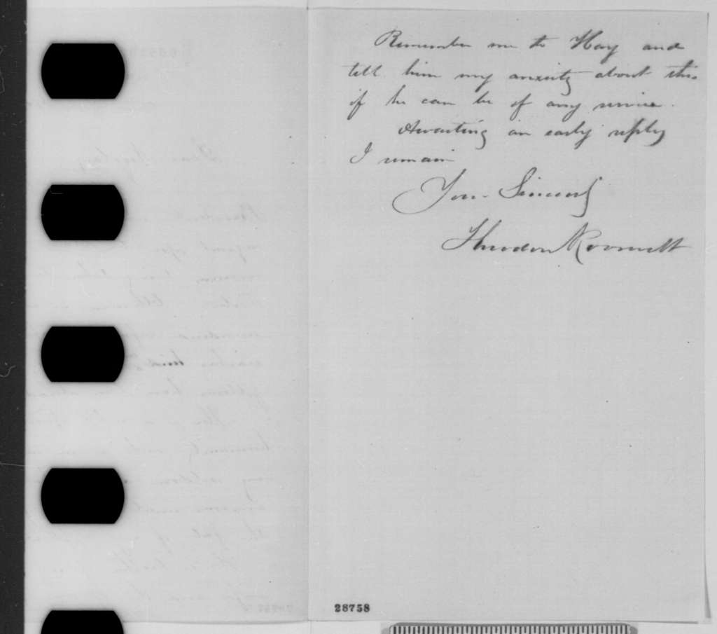 Theodore Roosevelt to John G. Nicolay, Friday, December 18, 1863  (Case of Benjamin H. Porter)