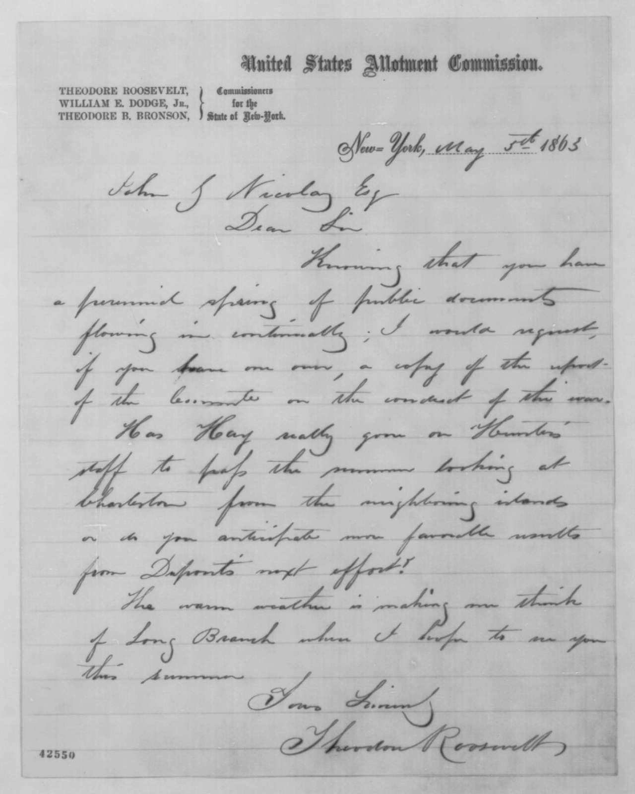 Theodore Roosevelt to John G. Nicolay, Tuesday, May 05, 1863  (Requests report from Committee on Conduct of War)