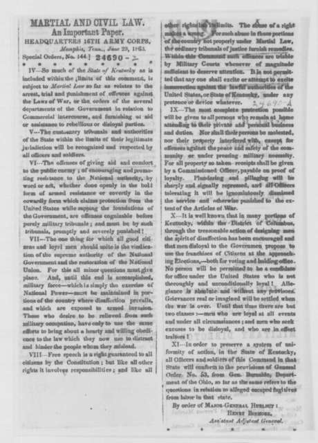 Thomas A. Duke to Abraham Lincoln, Monday, July 06, 1863  (Political affairs in Kentucky)