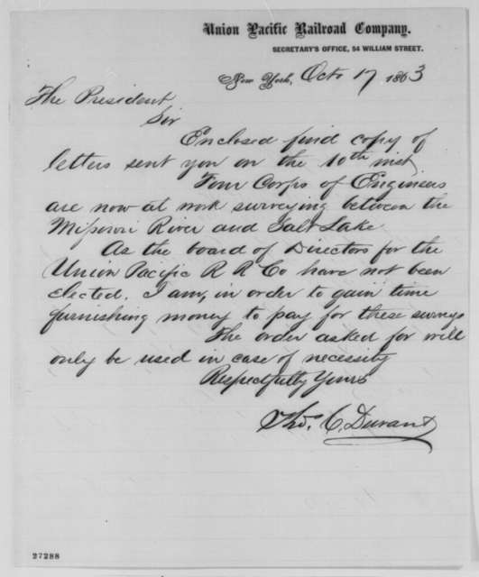 Thomas C. Durant to Abraham Lincoln, Saturday, October 17, 1863  (Cover letter)