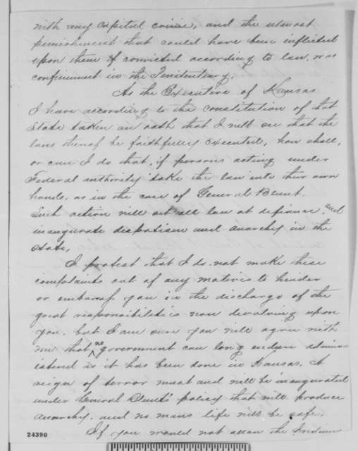 Thomas Carney to Abraham Lincoln, Thursday, June 25, 1863  (Military affairs in Kansas)