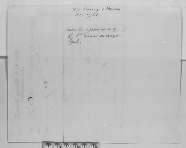 Thomas Carney to Abraham Lincoln, Wednesday, October 07, 1863  (Telegram recommending D. P. Lowe)