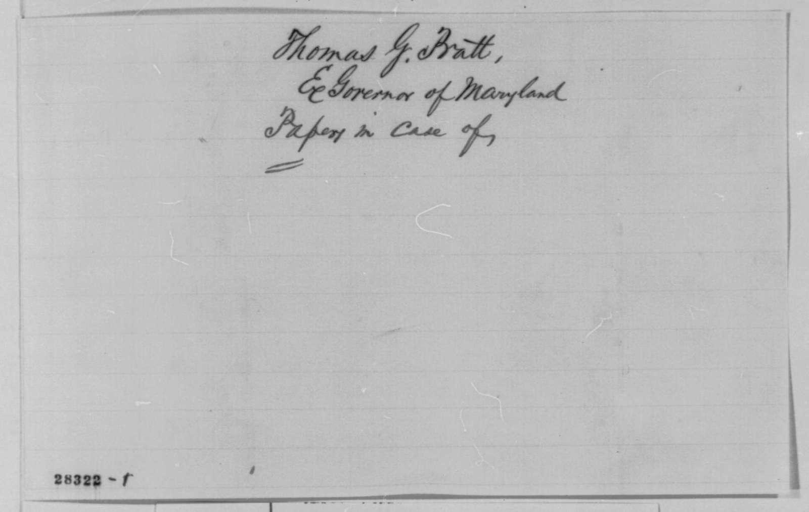 Thomas G. Pratt to Edwin M. Stanton, Saturday, November 28, 1863  (Pratt's treatment during recent elections in Maryland)