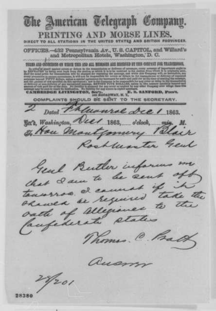Thomas G. Pratt to Montgomery Blair, Tuesday, December 01, 1863  (Telegram concerning oath of allegiance to Confederate States)