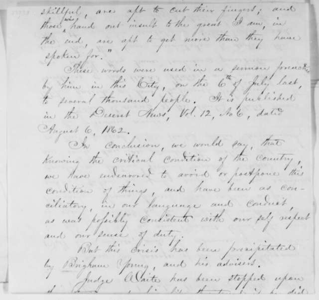 Thomas J. Drake and Charles B. Waite to Abraham Lincoln, Friday, March 06, 1863  (Affairs in Utah Territory; with depositions by Francis Long and A. L. Harding)