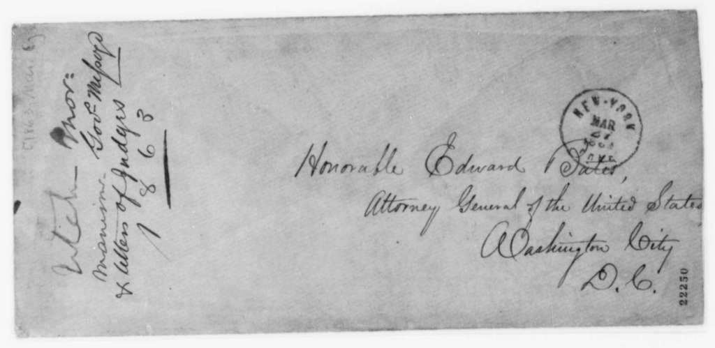 Thomas J. Drake and Charles B. Waite to Edward Bates, Friday, March 06, 1863  (Cover letter)
