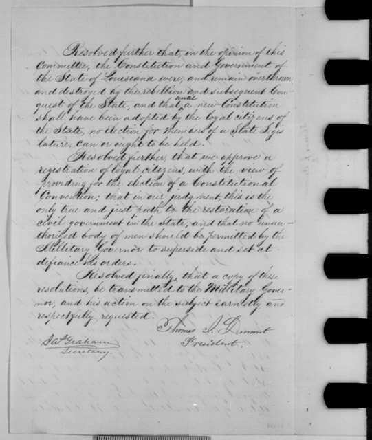 Thomas J. Durant and James Graham, Friday, October 23, 1863  (Resolutions of the Louisiana Free State Party)