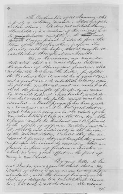 Thomas J. Durant to Abraham Lincoln, Thursday, October 01, 1863  (Slavery in Louisiana)