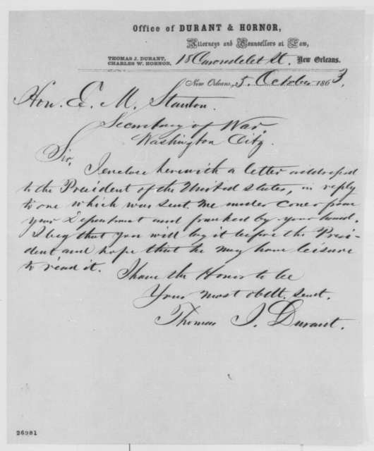 Thomas J. Durant to Edwin M. Stanton, Monday, October 05, 1863  (Cover letter)