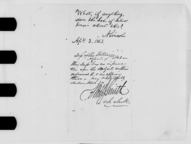 Thomas J. Pickett to Abraham Lincoln, Friday, April 03, 1863  (Telegram reporting that he has been removed from office; endorsed by Lincoln and Watton J. Smith)