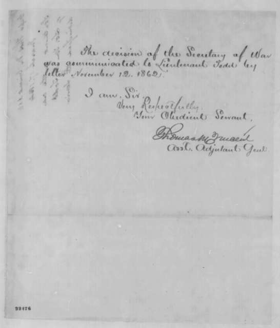 Thomas M. Vincent to John G. Nicolay, Tuesday, March 17, 1863  (Dismissal of N.A. Todd from the army)