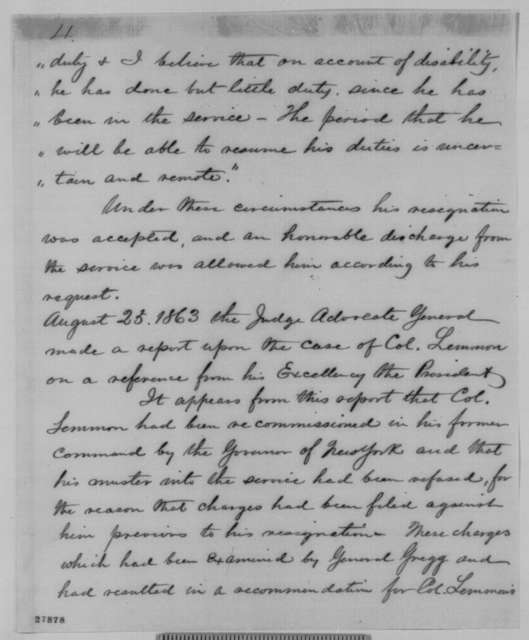 Thomas M. Vincent to John H. Hardie, Friday, November 06, 1863  (Submits papers concerning officers dismissed from 10th New York Cavalry; with memorandum on John C. Lemmon's military history)