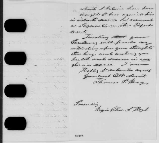 Thomas P. May to Abraham Lincoln, Saturday, May 02, 1863  (Introduces Charles Hoyt)