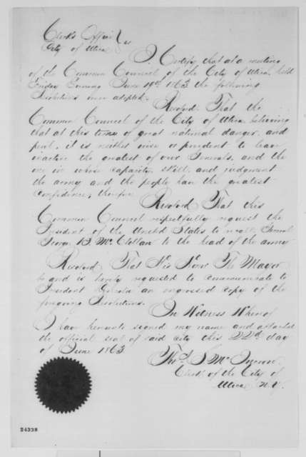 Thomas S. McIncron, Monday, June 22, 1863  (Resolution of Utica, New York council requesting the reinstatement of General McClellan)