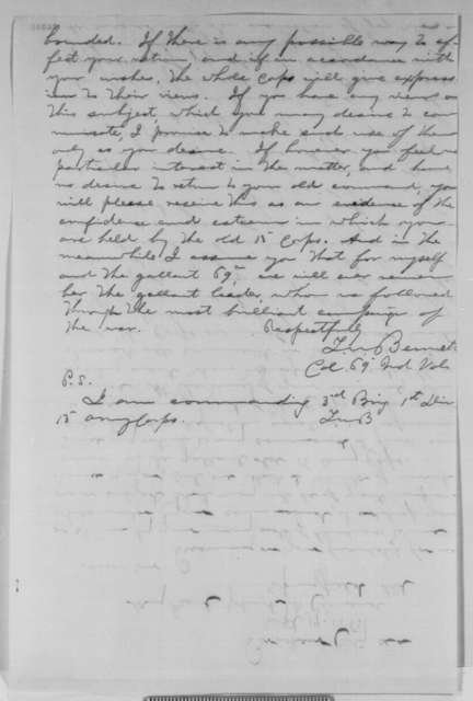 Thomas W. Bennett to John A. McClernand, Monday, September 14, 1863  (13th Army Corps wants McClernand back)