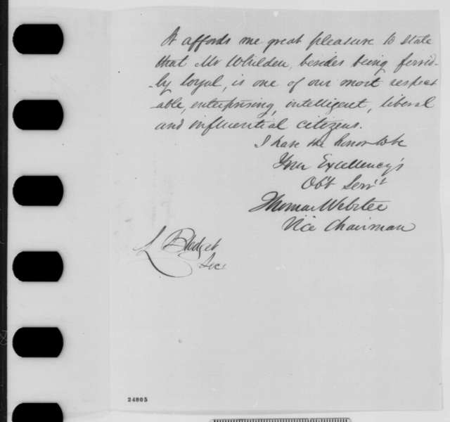 Thomas Webster to Abraham Lincoln, Monday, July 13, 1863  (Introduces Wilmon Whilden)