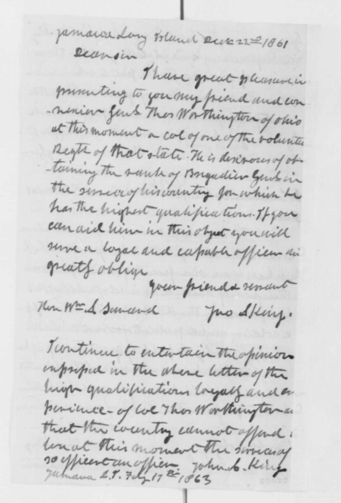 Thomas Worthington to Abraham Lincoln, Saturday, February 28, 1863  (Sends letters of recommendation for his promotion)
