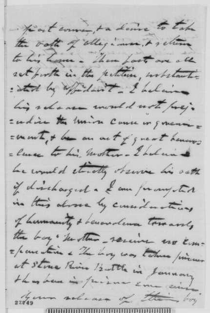 Thornton F. Marshall to Abraham Lincoln, Sunday, November 01, 1863  (Seeks release of Confederate prisoner)