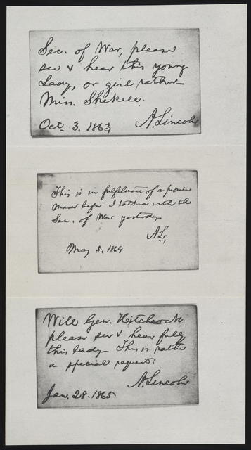 [Three manuscript photo reproduction notes written by Abraham Lincoln.]