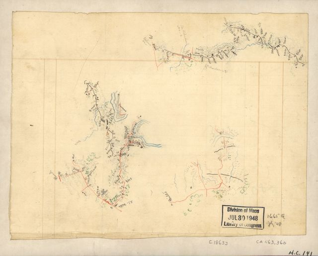 [Three sketches on one sheet of fortifications, roads and streams in the vicinity of Salem Church and Banks Ford in the battle of Chancellorsville, May 1863].