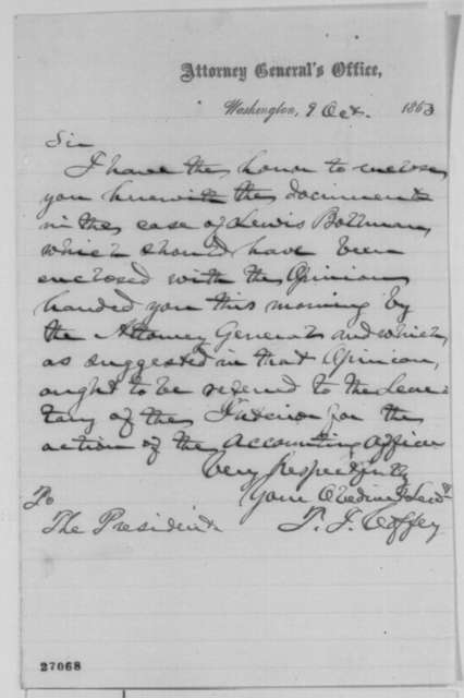 Titian J. Coffey to Abraham Lincoln, Friday, October 09, 1863  (Cover letter)