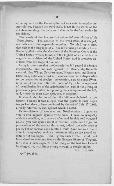 To the voters of Accomac and Northampton ... Jos. Segar. April 10, 1863,.