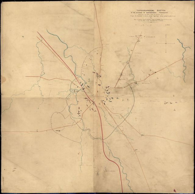 Topographical sketch of the environs of Murfreesboro, Tennessee / surveyed Jan. 1863 under the direction of Capt. N. Michler, U.S.A., Chief Topl. Engr., Army of the Cumberland, by Maj. J.E. Weyss, Capt. W. Starling, Capt. D. Thruston, Capt. J.W. Stinchcomb, Lieut. M. Allen, Lieut. Mackelfatrick, U.S. Vols.