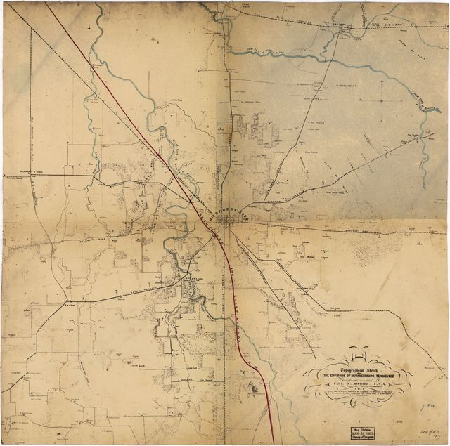 Topographical sketch of the environs of Murfreesboro, Tennessee. Surveyed Jan. 1863 under the direction of Capt. N. Michler, U.S.A., Chief Topl. Engr., Army of the Cumberland, by Maj. John E. Weyss, assisted by Captains: W. Starling, D. Thruston, J.W. Stinchcomb, R. Rose and Lts. M. Allen and H. Greenwood, U.S. Volunteers.