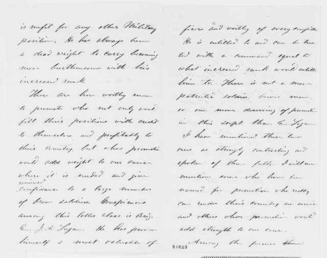 Ulysses S. Grant to Abraham Lincoln, Monday, February 09, 1863  (Army promotions)