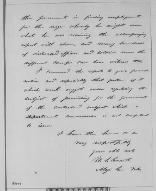 Ulysses S. Grant to Abraham Lincoln, Thursday, June 11, 1863  (Sends report on contrabands)