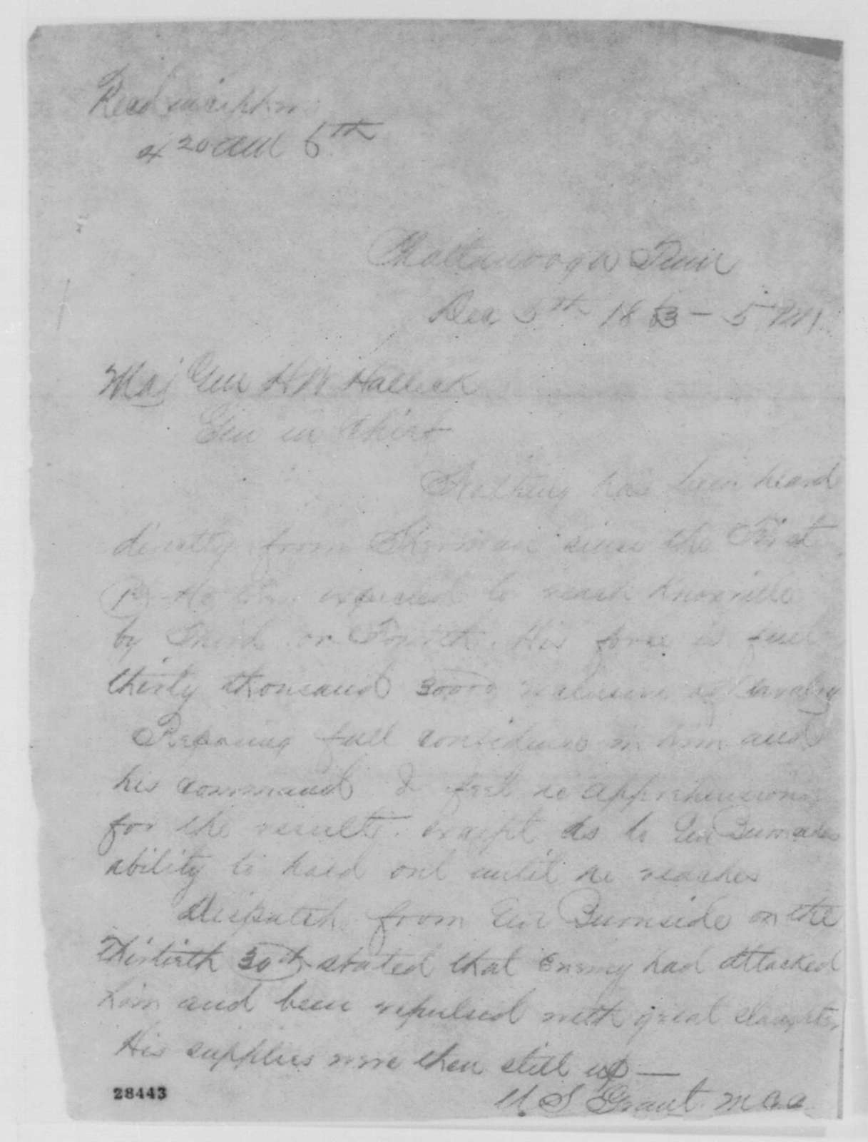 Ulysses S. Grant to Henry W. Halleck, Sunday, December 06, 1863  (Telegram reporting military situation in Tennessee)